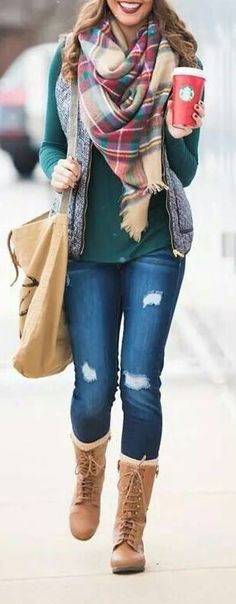 #winter #fashion / tartan scarf + green knit