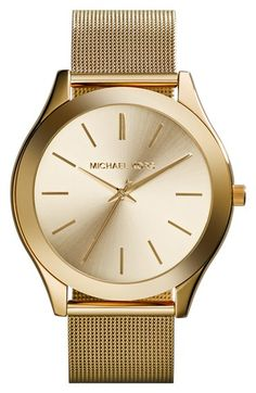 MICHAEL Michael Kors Michael Kors 'Slim Runway' Mesh Strap Watch, 42mm available at #Nordstrom