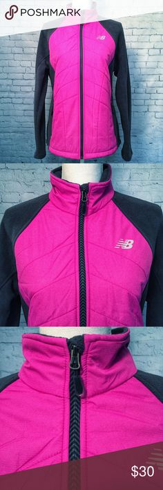 """New Balance Mixed-Media Quilted Jacket Large * Brand: New Balance * Size: Large * Color: Fuchsia/Dark Gray * Materials: 100% Polyester * Measurements: 21.5"""" Chest, 26"""" Length, 30"""" Sleeves * Description: This women's New Balance quilted jacket adds a sporty touch to your outerwear. Mixed media design, 2 zip pockets, zip front, long sleeves with thumb holes, unlined premium fleece, anti pilling, great for spring! * Condition: New with tags  *Smoke free home. Offers welcome.* New Balance…"""