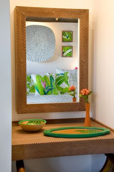 Frenchmans resort interior decoration, view through a mirror