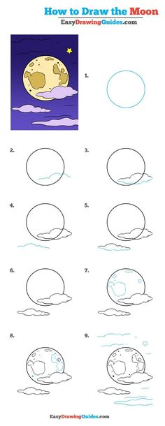 How to Draw the Moon – Really Easy Drawing Tutorial Learn How to Draw Moon: Easy Step-by-Step Drawing Tutorial for Kids and Beginners. See the full tutorial at easydrawingguides… Easy Drawing Tutorial, Drawing Lessons, Drawing Tips, Drawing Techniques, Learn Drawing, Drawing Ideas, Drawing Tutorials For Beginners, Easy Doodle Art, Moon Drawing