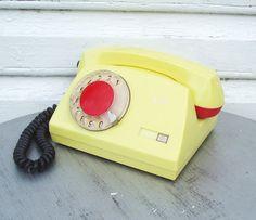Rotary Telephone Yellow Vintage Working Russian by MerilinsRetro