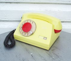 Rotary Telephone Yellow Vintage Working Russian by MerilinsRetro