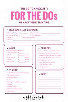 apartment hunting checklist - Google Search   Apartment Ideas ...