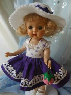 POLKA DOT dress with hat,  and toy,  fits Ginny, Muffie, all 7 to 8 in. dolls.
