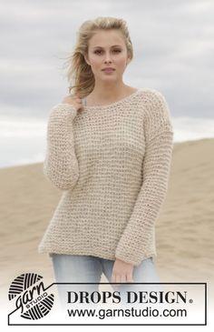 "Knitted DROPS jumper in garter st in 2 strands ""Brushed Alpaca Silk""."