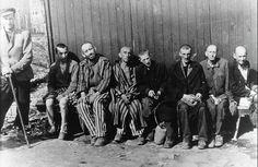 Häftlinge des KZ Buchenwald nach ihrer Befreiung, 1945. Prisoners of KZ Buchenwald after liberation, 1945.