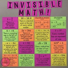My Math Resources - Invisible Math – MUST HAVE Posters for Every Middle School Math Classroom Math School, Middle School Classroom, Math Classroom, Math Teacher, Teaching Math, Future Classroom, Back To School, Fun Math Activities, Math Resources