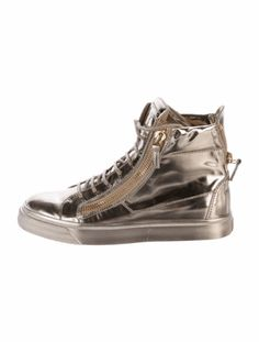 "GIUSEPPE ZANOTTI METALLIC HIGH-TOP SNEAKERS Size: 8.5IT 38.5 $275.00 Metallic gold leather Giuseppe Zanotti round-toe high-top sneakers with gold-tone hardware, lace-up accents at uppers, zip and logo accents at counters, rubber soles and dual zip closures at sides. Designer Fit: This designer runs a half size small. Heels: 0.25"" Condition: Very Good. Faint scuffing at outer soles; light wear at insoles. Designer: Giuseppe Zanotti"