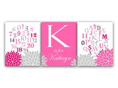 Hey, I found this really awesome Etsy listing at https://www.etsy.com/listing/185608114/nursery-wall-art-nursery-alphabet-pink