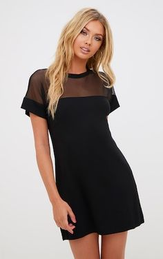 Black Airtex Mesh T Shirt Dress by Prettylittlething.Available Colors:Black.Available Jersey & Mesh T Shirt Dress. Mesh Clothing, Sheer Clothing, Black Tshirt Dress, T Shirt Dresses, Jersey Dresses, Dresses Dresses, Dress Black, Long Mermaid Dress, Mesh T Shirt
