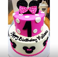 Minnie Mouse pink birthday cake  www.mazzettisbakery.com Mazzetti's Bakery. Pacifica, CA. Family owned bakery. Desserts. Cupcakes. Baked treats.  Wedding cakes and cupcakes. Desserts for special occasions.