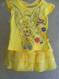 Baby Toddler Girl Disney Yellow Tinkerbell Tutu Dress Two Piece 24 Months Skirt #Disney #DressyEverydayHolidayPageantWedding