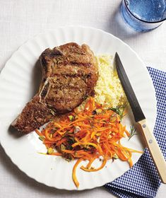 Grilled Fennel-Crusted Pork Chops With Carrot Salad from realsimple.com. #myplate #protein #vegetables