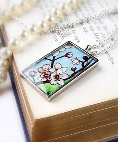 Japanese Cherry Blossoms -- Botanical Necklace Jewelry Pendant   Sarah-Lambert Cook