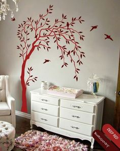 Nursery wall decal with leaves and birds sticker tree kids room decals  KR038