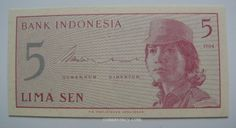 1964 Indonesia 5 Sen banknote