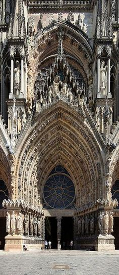 , French Gothic facade door of Notre-Dame de Reims Cathedral (Our Lady of Reims) w. , French Gothic facade door of Notre-Dame de Reims Cathedral (Our Lady of Reims) where the Kings of France were crowned in Reims, France. Beautiful Architecture, Beautiful Buildings, Art And Architecture, Beautiful Places, French Gothic Architecture, Cathedral Architecture, Futuristic Architecture, Architecture Portfolio, Amazing Places