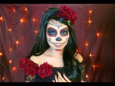 Beautiful SUGAR SKULL Makeup Tutorial - YouTube