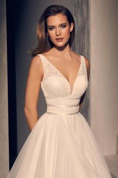 View Radiant Ruffled Wedding Dress - Style from Mikaella Bridal. Lace bodice with V-neck. Thin bands across midriff. Wedding Dresses Plus Size, Elegant Wedding Dress, Wedding Dress Styles, Designer Wedding Dresses, Bridal Dresses, Wedding Gowns, Tulle Wedding, Bridal Lace, Pretty Dresses