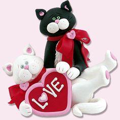 Valentine KITTY CAT COUPLE Figurine by PersonalizedOrnament, $14.95