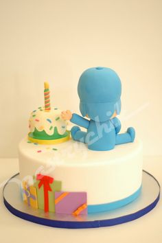 Last year, I was given the opportunity to make Gabriel's baptismal cake. Now he turns 1 and his is wonderful mom, Katrina, decided on Pocoy. Basic Cake, Cereal Treats, Baby Boy Birthday, Birthday Cakes, Specialty Cakes, Cupcake Cookies, Cupcakes, Breakfast For Kids, Fondant Cakes