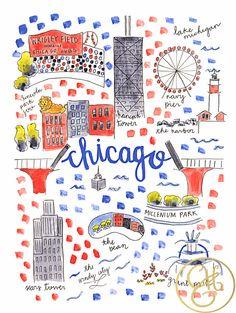 Chicago Map Print by EvelynHenson on Etsy www.evelynhenson.com