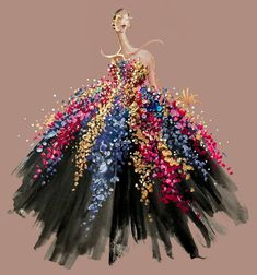 Oscar De La Renta fashion illustration