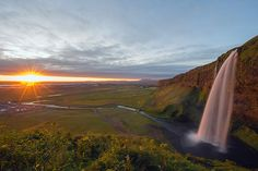 Seljalandsfoss waterfall at sunset, Southern Region, Iceland, Polar Regions
