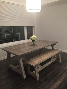 Farmhouse Table With Light Grey Base And Distressed Dark