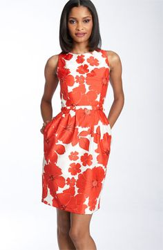 print sheath dress with pockets