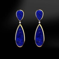 DIAMOND & LAPIS LAZULI EarringsThese earrings are handmade like all our products, with accuracy by our goldsmiths with over 40 years experience. Diamond Solitaire Earrings, Diamond Studs, Tiffany Solitaire, Black Diamond, Bijoux Lapis Lazuli, Mister Jewelry, Etsy Earrings, Dangle Earrings, Jewellery Earrings
