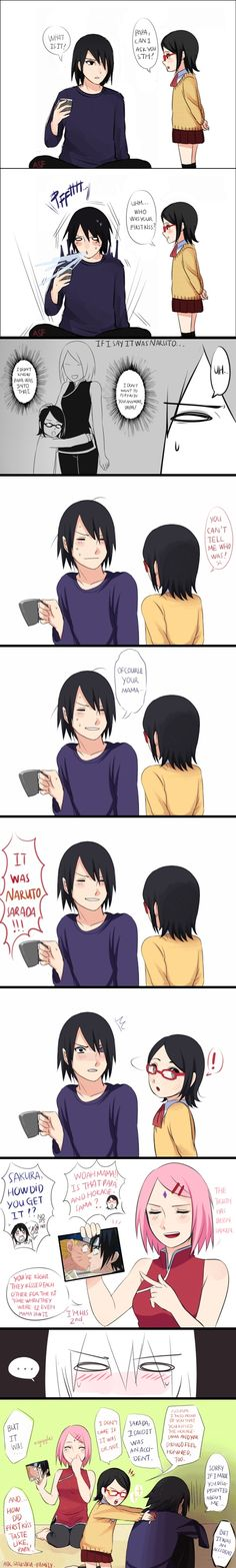Sasuke Sakura Sarada Pffft! Omg this is Hilarious! XD Sarada is so weird XD
