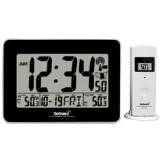 Skyscan Atomic Digital Clock with Indoor and Outdoor Temperature - Sam's Club Digital Wall, Digital Alarm Clock, Atomic Wall Clock, Indoor Outdoor, Sam's Club, Tips, Stuff To Buy, Rv Life, Rv Living