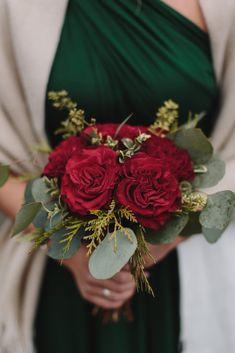 Wedding Bridesmaid Flowers, One Shoulder Bridesmaid Dresses, Davids Bridal Bridesmaid Dresses, Fall Wedding Bouquets, Bridesmaid Bouquet, Burnt Orange Weddings, Winter Wedding Inspiration, Snow Wedding, Christmas Wedding