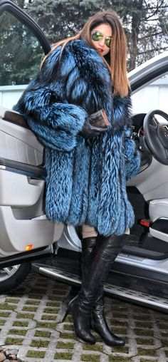 silver-blue fox fur coat