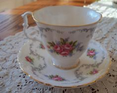 Vintage Royal Albert demi tasse Tranquility pattern english bone china  teacup and saucer ca. 1960s -  excellent condition