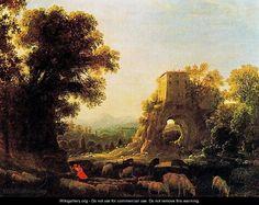 Claude Lorrain Paintings   Landscape with pastors - Claude Lorrain (Gellee)