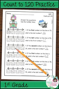 1st Grade Math practice for Number Lines, Hundreds Charts, Object Counting, Word Problem Solving, and Assessments. No fluff, no prep, printer friendly, at your fingertips! Check out the preview today!