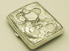 A fine and impressive antique Chinese Export Silver cigarette / card case; part of our Chinese Export Silver collection