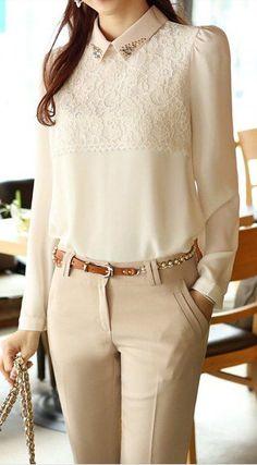 lace yoke blouse