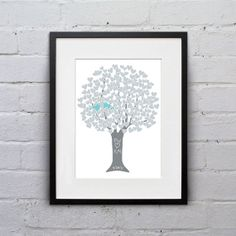 Personalized - Silver 25th Anniversary Gift Heart Tree - Art Print Monogram Name Date - custom colors $18 on Etsy