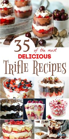 35 of the most Delicious Trifle Recipes Your Family Will Love #desserts #recipes #sweets - Mom Does Reviews Köstliche Desserts, Dessert Recipes, Delicious Desserts, Chef Recipes, Trifle Bowl Desserts, Chocolate Trifle Desserts, Dessert Trifles, Trifle Cake, Cheesecake Trifle
