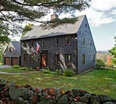 New England iconography in a 17th-century-style Saltbox house, dry ...