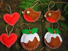 Handmade Christmas Decoration - Set of 6 Felt Decorations -Heart, Pudding, Robin