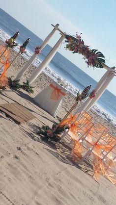Tropical Decor Ocean City Md Beach Wedding Barefootbrideoc