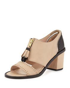 Miss. Dakota Tassel Loafer Sandal, Nude/Black by The Office of Angela Scott at Neiman Marcus.