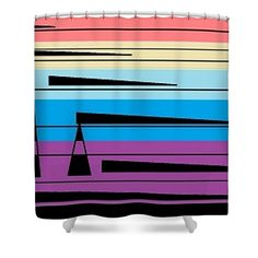 Shower Curtain of 'Navajo 4' a series of designs by Sumi e Master Linda Velasquez to Honor the Navajo People.