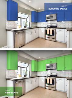Pintar los gabinetes de tu cocina es una gran forma de renovarla.  ¿Cuál color eliges?