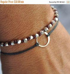 Valentine SALE Karma bracelet. Sterling silver. -Baby Karma bracelet -on Gray waxed Irish linen cord thread